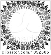 Royalty Free Vector Clip Art Illustration Of An Ornate Black Circle Frame Over White