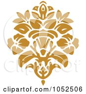Royalty Free Vector Clip Art Illustration Of A Gold Damask Design Element 4