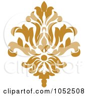 Royalty Free Vector Clip Art Illustration Of A Gold Damask Design Element 7