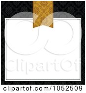 Royalty Free Vector Clip Art Illustration Of A Gold Book Mark Over A White Text Box On Floral Black