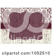 Royalty Free Vector Clip Art Illustration Of A Distressed Red And Beige Floral Damask Invitation Background With A Red Text Box 2