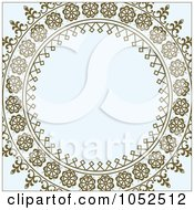 Royalty Free Vector Clip Art Illustration Of An Ornate Brown Cicrcle Frame Over Gray
