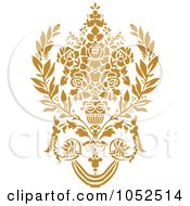 Royalty Free Vector Clip Art Illustration Of A Gold Damask Design Element 5