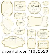 Royalty Free Vector Clip Art Illustration Of A Digital Collage Of Beige Wedding Labels And Greetings