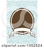 Royalty Free Vector Clip Art Illustration Of A Blue Floral Invitation Background With A Brown Oval And Blank Banner 2