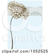 Royalty Free Vector Clip Art Illustration Of A Lilac Flower And Ornate Trim On Blue Daisy Floral Invitation Background