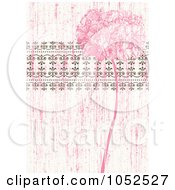 Royalty Free Vector Clip Art Illustration Of A Pink Distressed Lilac Flower And Ornate Trim Floral Invitation Background 2