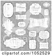 Royalty Free Vector Clip Art Illustration Of A Digital Collage Of Distressed Wedding Labels And Greetings Over A Gray Floral Pattern