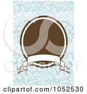 Royalty Free Vector Clip Art Illustration Of A Blue Floral Invitation Background With A Brown Oval And Blank Banner 1