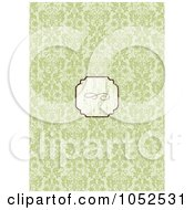 Royalty Free Vector Clip Art Illustration Of A Blank Distressed Text Box Over A Green Damask Floral Invitation Background