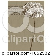 Royalty Free Vector Clip Art Illustration Of A Brown Lilac Flower And Ornate Trim Floral Invitation Background 3
