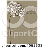Royalty Free Vector Clip Art Illustration Of A Brown Lilac Flower And Ornate Trim Floral Invitation Background 1