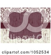 Royalty Free Vector Clip Art Illustration Of A Distressed Red And Beige Floral Damask Invitation Background With A Red Text Box 1