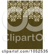 Royalty Free Vector Clip Art Illustration Of An Ornate Damask Border On Distressed Olive Green