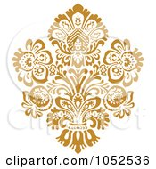 Royalty Free Vector Clip Art Illustration Of A Gold Damask Design Element 1