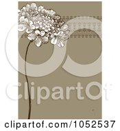 Royalty Free Vector Clip Art Illustration Of A Brown Lilac Flower And Ornate Trim Floral Invitation Background 2