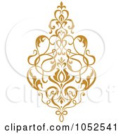 Royalty Free Vector Clip Art Illustration Of A Gold Damask Design Element 3
