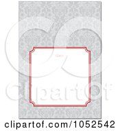 Royalty Free Vector Clip Art Illustration Of A Gray Floral Pattern Invitation Background With A Red And Text Box 1