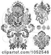 Digital Collage Of Gray And Black Patterned Damask Design Elements