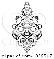 Royalty Free Vector Clip Art Illustration Of A Gray And Black Patterned Damask Design Element 5
