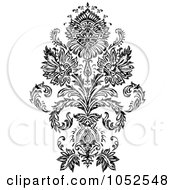 Royalty Free Vector Clip Art Illustration Of A Gray And Black Patterned Damask Design Element 1