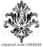 Royalty Free Vector Clip Art Illustration Of A Gray And Black Patterned Damask Design Element 4