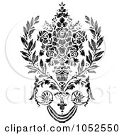 Royalty Free Vector Clip Art Illustration Of A Gray And Black Patterned Damask Design Element 2