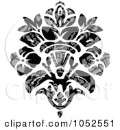 Royalty Free Vector Clip Art Illustration Of A Gray And Black Patterned Damask Design Element 3