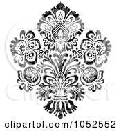 Royalty Free Vector Clip Art Illustration Of A Gray And Black Patterned Damask Design Element 6