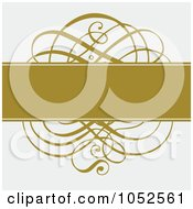 Royalty Free Vector Clip Art Illustration Of A Gold Bar And Swirl On Gray