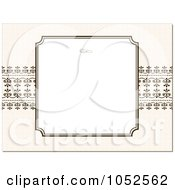 Royalty Free Vector Clip Art Illustration Of A Blank Text Box Floral Background Over Beige With Ornate Lines