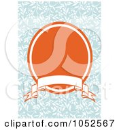 Royalty Free Vector Clip Art Illustration Of A Blue Floral Invitation Background With An Orange Oval And Blank Banner