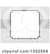 Royalty Free Vector Clip Art Illustration Of A Blank Text Box Floral Background Over Gray With Ornate Lines