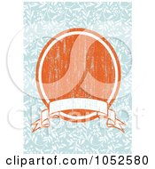 Royalty Free Vector Clip Art Illustration Of A Blue Floral Invitation Background With A Distressed Orange Oval And Blank Banner