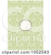 Royalty Free Vector Clip Art Illustration Of A Blank Text Box Over A Green Damask Floral Invitation Background
