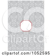 Royalty Free Vector Clip Art Illustration Of A Gray Floral Pattern Invitation Background With A Red And Text Box 3