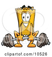 Yellow Admission Ticket Mascot Cartoon Character Lifting A Heavy Barbell