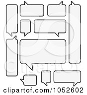 Royalty Free Vector Clip Art Illustration Of A Digital Collage Of Black And White Speech Bubbles