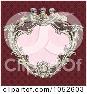 Royalty Free Vector Clip Art Illustration Of A Victorian Cupid Frame With Pink Copyspace On A Red Background