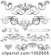 Royalty Free Vector Clip Art Illustration Of A Digital Collage Of Black And White Swirl Design Elements