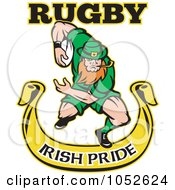 Royalty Free Vector Clip Art Illustration Of A Rugby Leprechaun Over A Yellow Banner by patrimonio