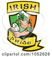 Royalty Free Vector Clip Art Illustration Of A Rugby Leprechaun With A Shield And Yellow Banner by patrimonio