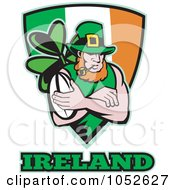Royalty Free Vector Clip Art Illustration Of A Rugby Leprechaun Over An Irish Shield by patrimonio