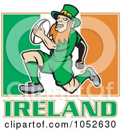 Royalty Free Vector Clip Art Illustration Of A Rugby Leprechaun Over An Irish Flag by patrimonio