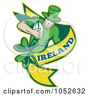 Royalty Free Vector Clip Art Illustration Of A Rugby Leprechaun With A Yellow Banner by patrimonio