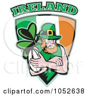 Royalty Free Vector Clip Art Illustration Of A Rugby Leprechaun On An Irish Shield by patrimonio