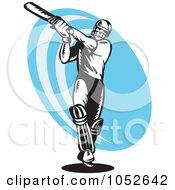 Royalty Free Vector Clip Art Illustration Of A Cricket Batsman Logo 6