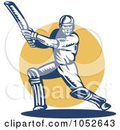Royalty Free Vector Clip Art Illustration Of A Cricket Batsman Logo 7