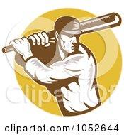 Royalty Free Vector Clip Art Illustration Of A Cricket Batsman Logo 3