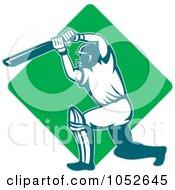 Royalty Free Vector Clip Art Illustration Of A Cricket Batsman Logo 10